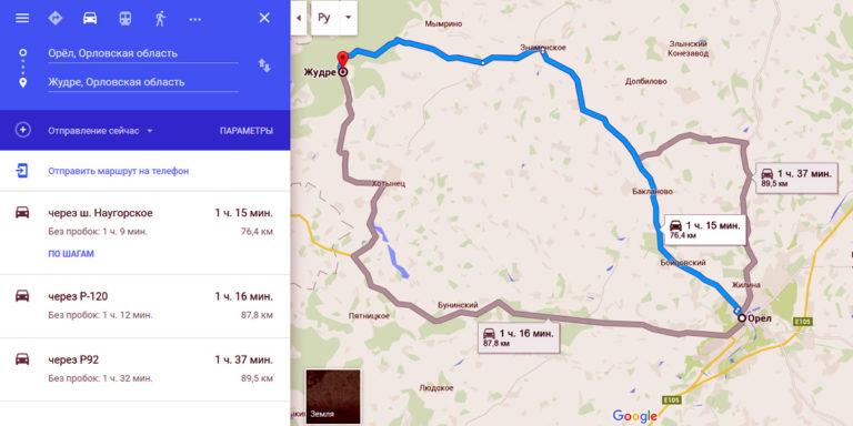 Схема дороги до орловского полесья