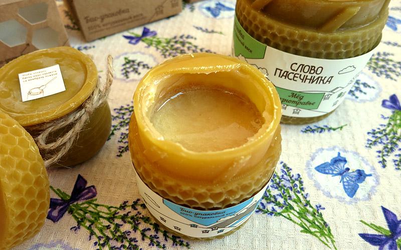 Натуральный мёд в эко-упаковке из пчелиного воска