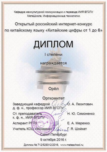Диплом участника интернет-олимпиады