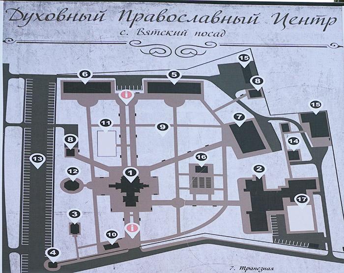 Карта схема православного центра Вятский Посад в Орловской области