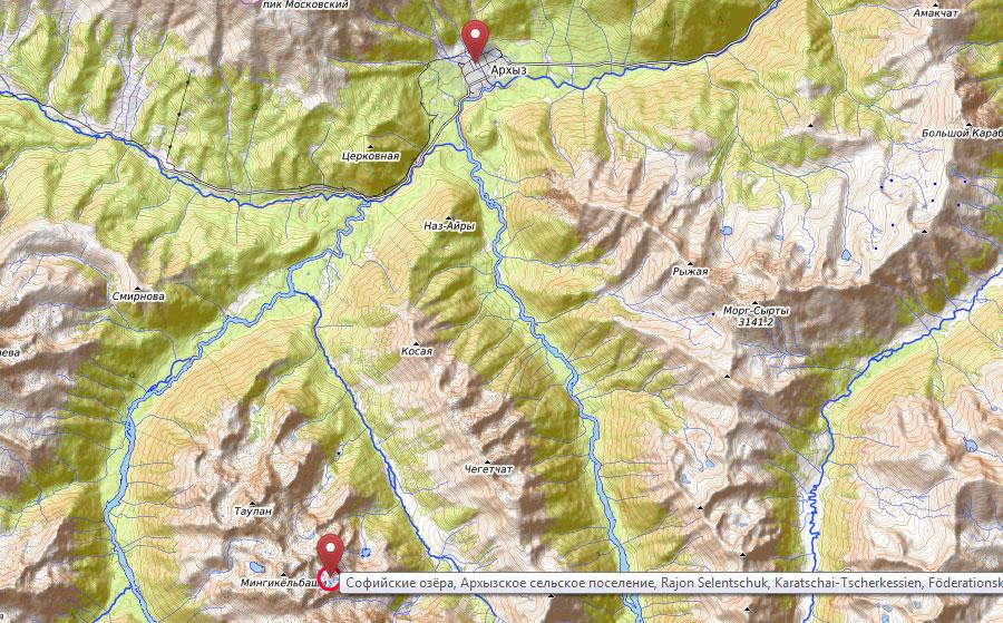 Карта маршрута похода Архыз Софийские озера