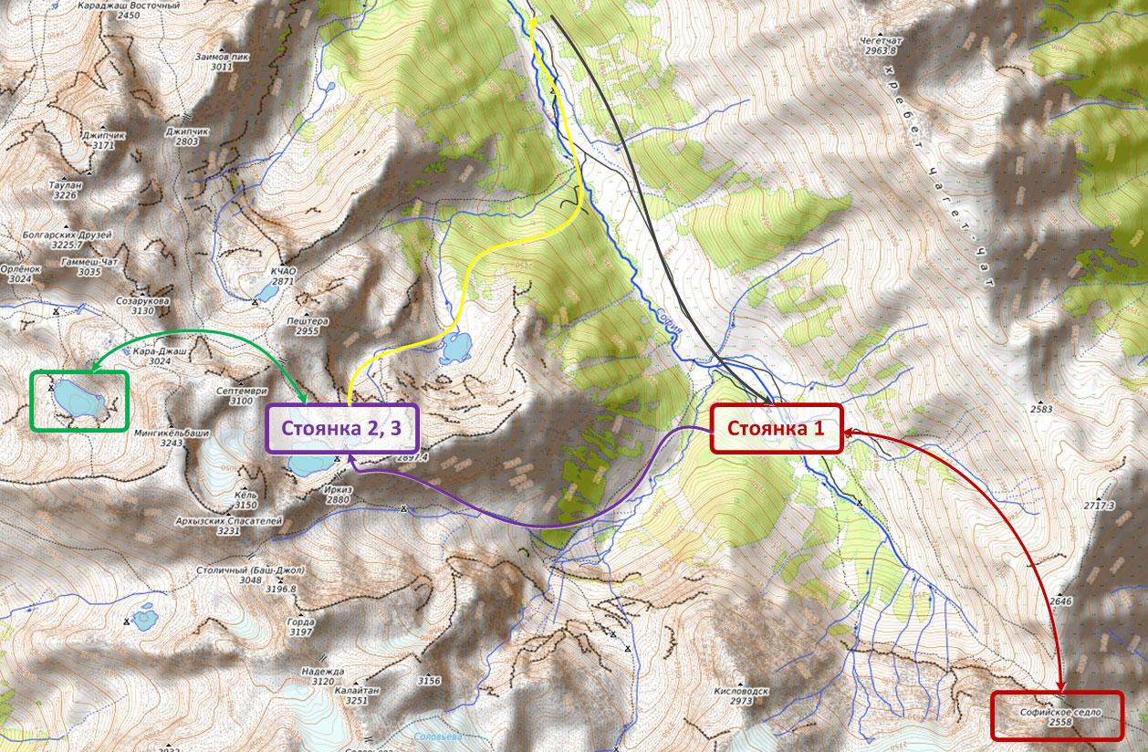 Места стоянок на карте Архыз Софийские озера
